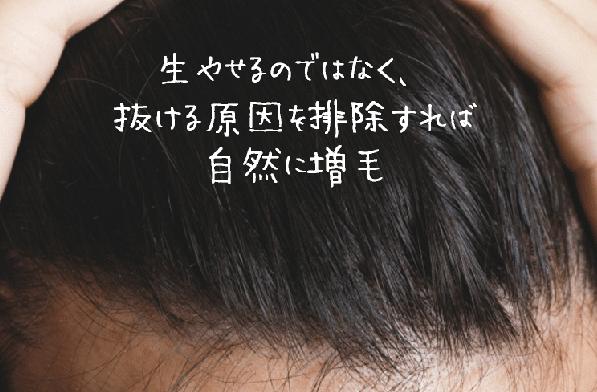 生やせるのではなく、 抜ける原因を排除すれば 自然に増毛